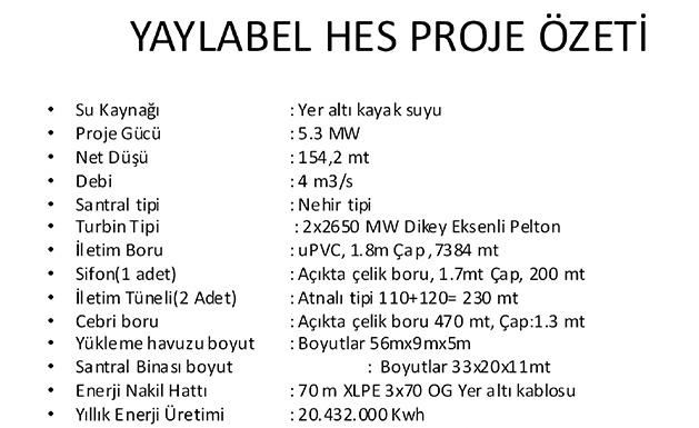 yaylabel-hes-Proje-ozeti